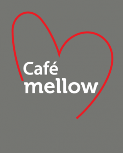 Cafe mellow logo on a grey background