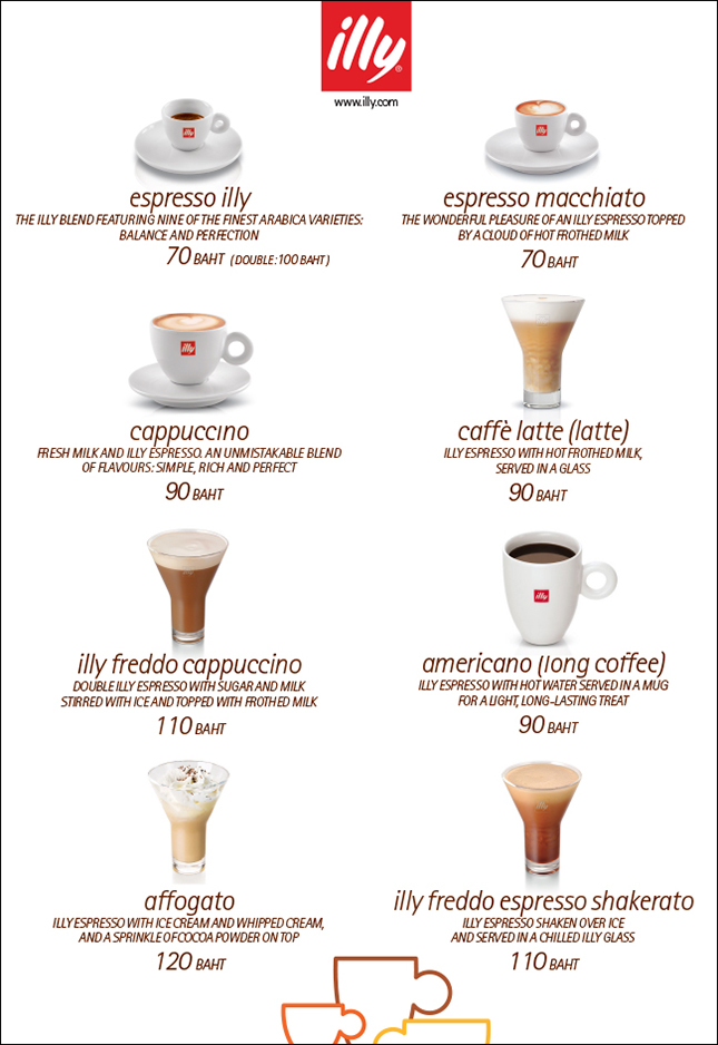 Cafe Mellow Illy Coffee Menu